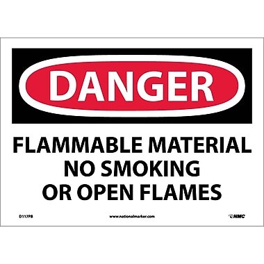 Danger, Flammable Material No Smoking Or Open Flames, 10X14, Adhesive Vinyl