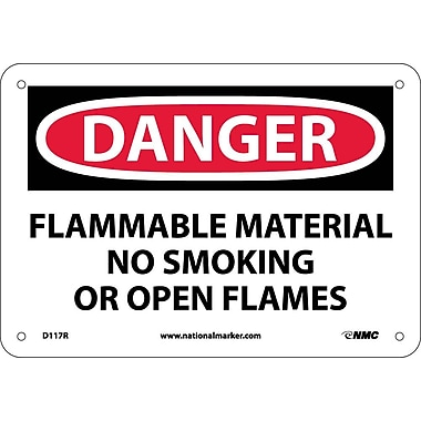 Danger, Flammable Material No Smoking Or Open Flames, 7X10, Rigid Plastic