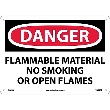Danger, Flammable Material No Smoking Or Open Flames, 10X14, Rigid Plastic