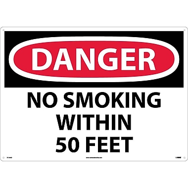 Danger, No Smoking Within 50 Feet, 20X28, .040 Aluminum