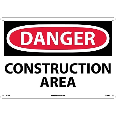 Danger, Construction Area, 14X20, Rigid Plastic