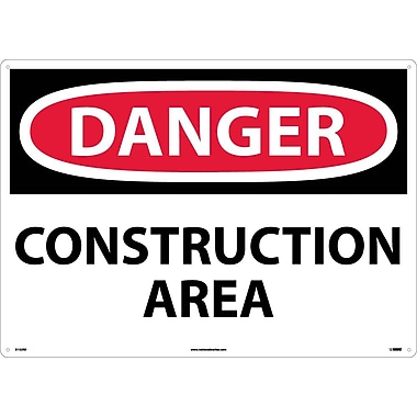 Danger, Construction Area, 20X28, Rigid Plastic
