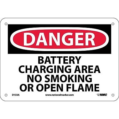 Danger, Battery Charging Area No Smoking Or Open Flames, 7X10, .040 Aluminum