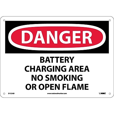 Danger, Battery Charging Area No Smoking Or Open. . ., 10X14, .040 Aluminum