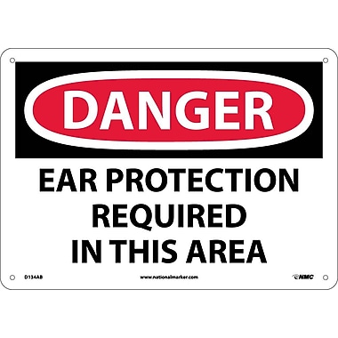 Danger, Ear Protection Required In This Area, 10X14, .040 Aluminum