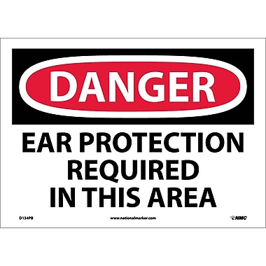 Danger, Ear Protection Required In This Area, 10X14, Adhesive Vinyl