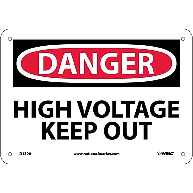 Danger, High Voltage Keep Out, 7X10, .040 Aluminum