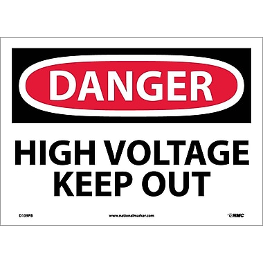 Danger, High Voltage Keep Out, 10X14 Adhesive Vinyl