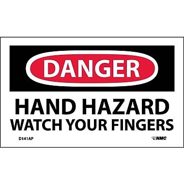 Labels - Danger, Hand Hazard Watch Your Fingers, 3X5, Adhesive Vinyl, 5/Pk