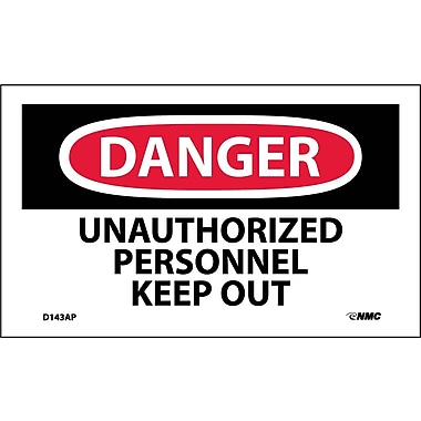 Labels - Danger, Unauthorized Personnel Keep Out, 3X5, Adhesive Vinyl, 5/Pk