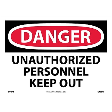 Danger, Unauthorized Personnel Keep Out, 10X14, Adhesive Vinyl