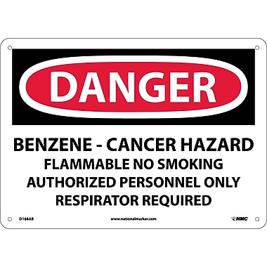 Danger, Benzene Cancer Hazard Flammable No Smoking, 10X14, .040 Aluminum