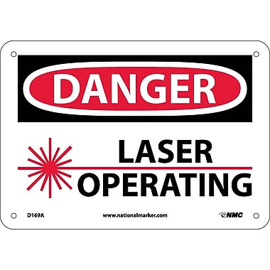 Danger, Laser Operating, Graphic, 7X10, .040 Aluminum