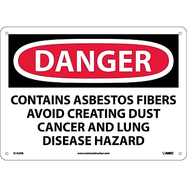 Danger, Contains Asbestos Fibers Avoid. . ., 10X14, Rigid Plastic