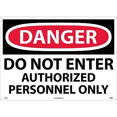 Danger, Do Not Enter Authorized Personnel Only, 20X28, .040 Aluminum