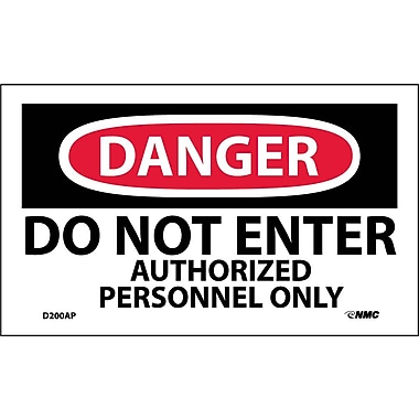 Labels Danger, Do Not Enter Authorized Personnel Only, 3