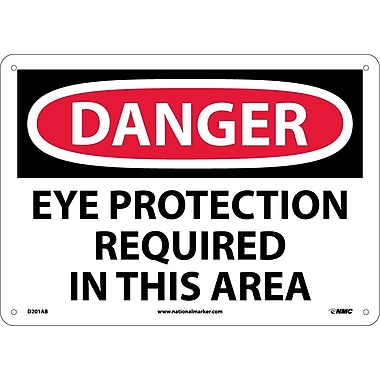 Danger, Eye Protection Required In This Area, 10X14, .040 Aluminum