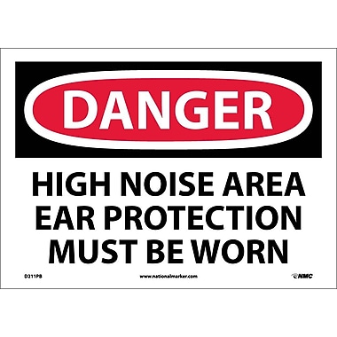 Danger, High Noise Area Ear Protection Must Be Worn, 10X14, Adhesive Vinyl