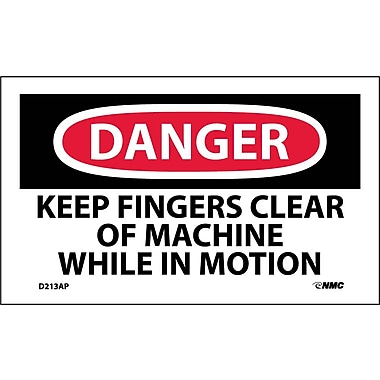 Labels Danger, Keep Fingers Clear Of Machine While In Motion, 3
