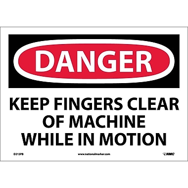 Danger, Keep Fingers Clear Of Machine While In Motion, 10X14, Adhesive Vinyl