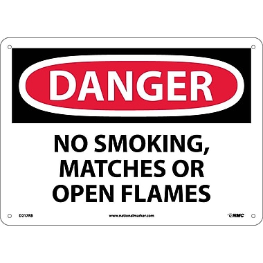 Danger, No Smoking Matches Or Open Flames, 10X14, Rigid Plastic