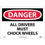 Danger, All Drivers Must Chock Wheels, 10X14, Fiberglass