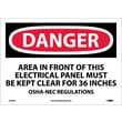 Danger, Area In Front Of This Electrical Panel, 10X14, Adhesive Vinyl