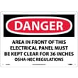 Danger, Area In Front Of This Electrical Panel, 10X14, Rigid Plastic