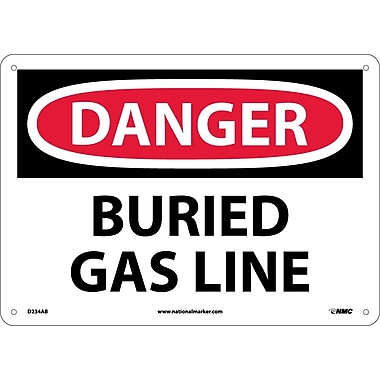 Danger, Buried Gas Line, 10X14, .040 Aluminum