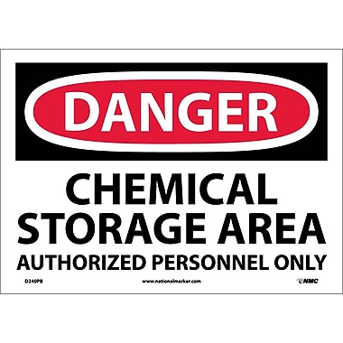 Danger, Chemical Storage Area Authorized Personnel, 10X14, Adhesive Vinyl