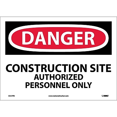 Danger, Construction Site Authorized Personnel. . ., 10X14, Adhesive Vinyl