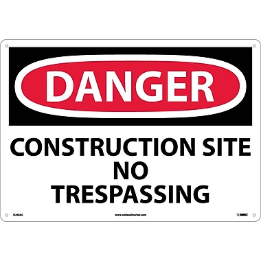 Danger, Construction Site No Trespassing, 14X20, .040 Aluminum