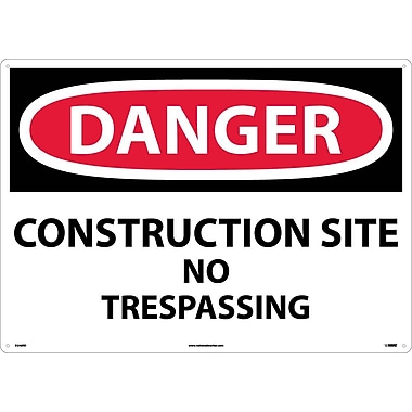 Danger, Construction Site No Trespassing, 20X28, Rigid Plastic