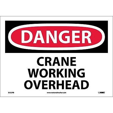 Danger, Crane Working Overhead, 10X14, Adhesive Vinyl