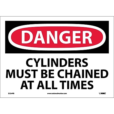 Danger, Cylinders Must Be Chained At All Times, 10X14, Adhesive Vinyl