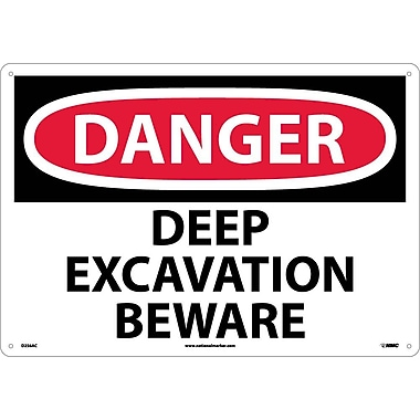Danger Deep Excavation Beware, 14X20, .040 Aluminum