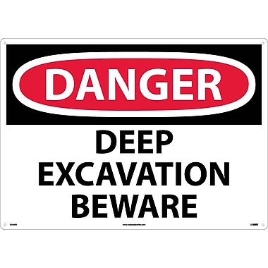 Danger, Deep Excavation Beware, 20X28, Rigid Plastic