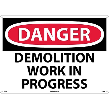 Danger, Demolition Work In Progress, 20X28, Rigid Plastic
