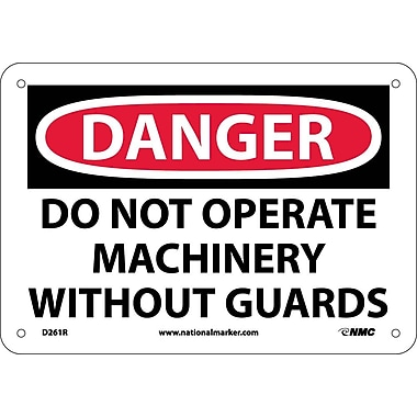 Danger, Do Not Operate Machinery Without Guard, 7X10, Rigid Plastic