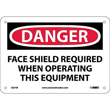 Danger, Face Shield Required When Operating This. . ., 7X10, Rigid Plastic