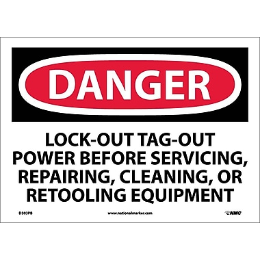 Danger, Lockout Tagout Power Before Servicing. . ., 10X14, Adhesive Vinyl