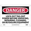 Danger, Lockout Tagout Power Before Servicing. . ., 7X10, Rigid Plastic