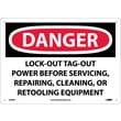 Danger, Lockout Tagout Power Before Servicing. . ., 10X14, Rigid Plastic
