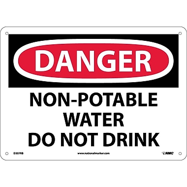 Danger, Non Potable Water Do Not Drink, 10X14, Rigid Plastic
