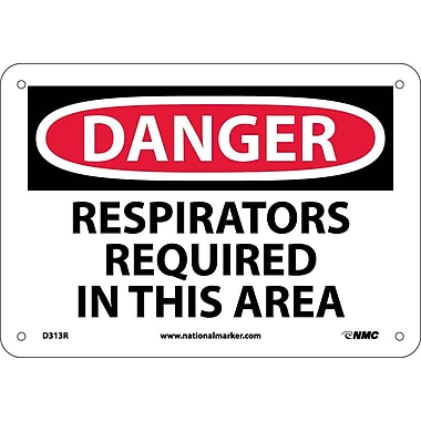 Danger, Respirators Required In This Area, 7X10, Rigid Plastic