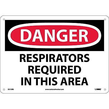 Danger, Respirators Required In This Area, 10X14, Rigid Plastic