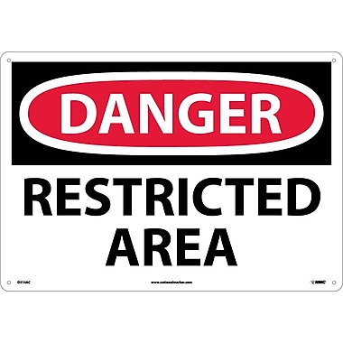 Danger Restricted Area, 14X20, .040 Aluminum