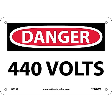 Danger, 440 Volts, 7X10, Rigid Plastic