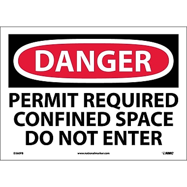 Danger, Permit Required Confined Space Do Not Enter, 10X14, Adhesive Vinyl