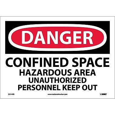 Danger, Confined Space Hazardous Area, Unauthorized Personnel Keep Out, 10X14, Adhesive Vinyl